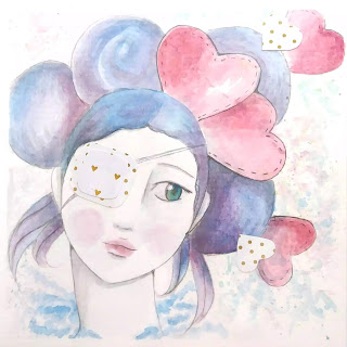 Anime girl with eye patch. Hearts and Watercolors