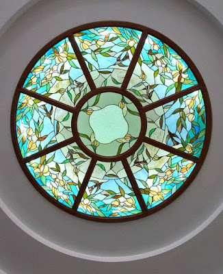 false ceiling with stained glass tray window
