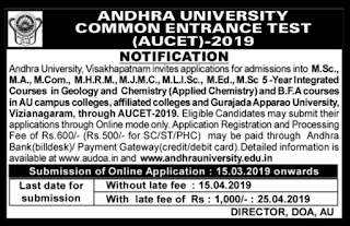 Andhra University Common Entrance Test 2019 Apply Online for AUCET 2019 audoa.in