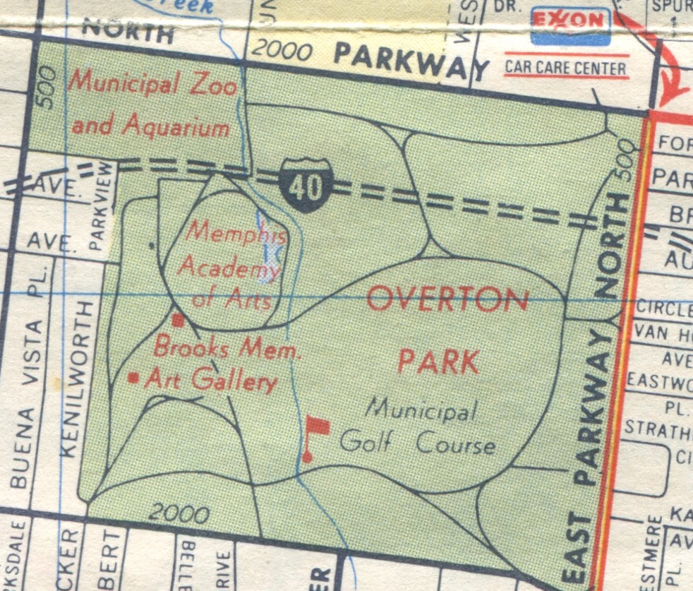this closeup of overton park is from a 1973 exxon map by general drafting co inc the dashed lines with an interstate shield says it all