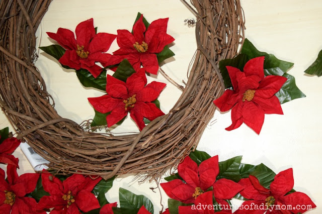 assembling poinsettia wreath