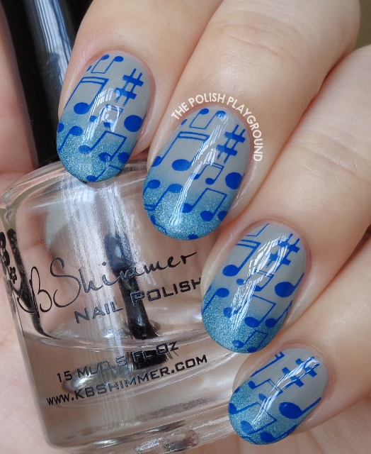 Blue Holo Gradient Tips with Musical Notes Stamping Nail Art