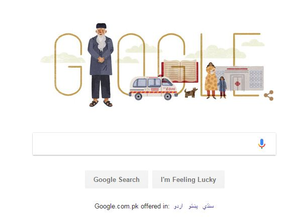 BREAKING NEWS, Abdul Sattar Edhi 89th Birthday, google, PAKISTAN, Google Tribute Abdul Sattar Edhi on his 89th birthday,