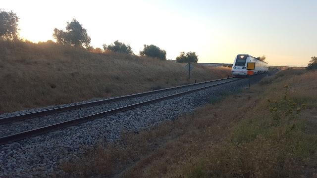 Tren pasando por el paso a nivel de EL Señorío de Illescas