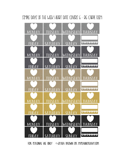 Free Printable Simple Days of the Week Heart Date Covers for the Vertical Carpe Diem Inserts Page 6 of 7 from myplannerenvy.com. Also available with a Circle instead of a Heart.