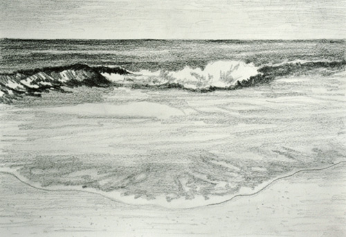 2nd Stage In Painting an Ocean Wave with a Sandy Beach in ...