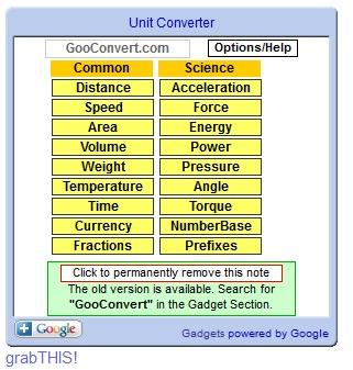 Blog Free Widgets: Unit Converter widget