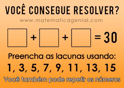Desafio - preencha as lacunas usando (1,3,5,7,9,11,13,15)