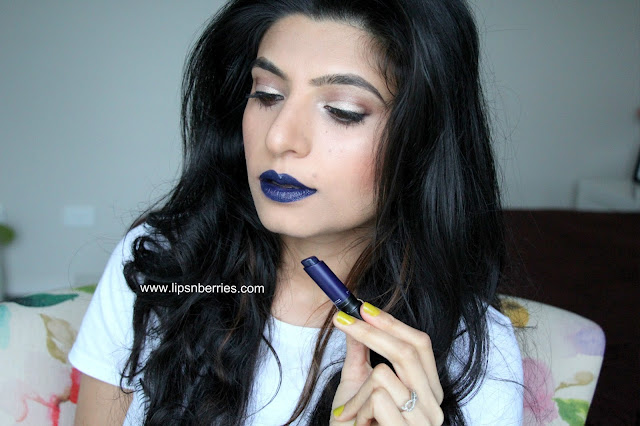 MAC blue beat lipstick on warm medium indian NC 35 skin
