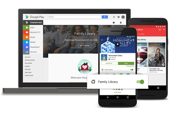 Google Play Family Library launched, you can now share purchased apps, books, games, movies and TV shows with up to 6 family members