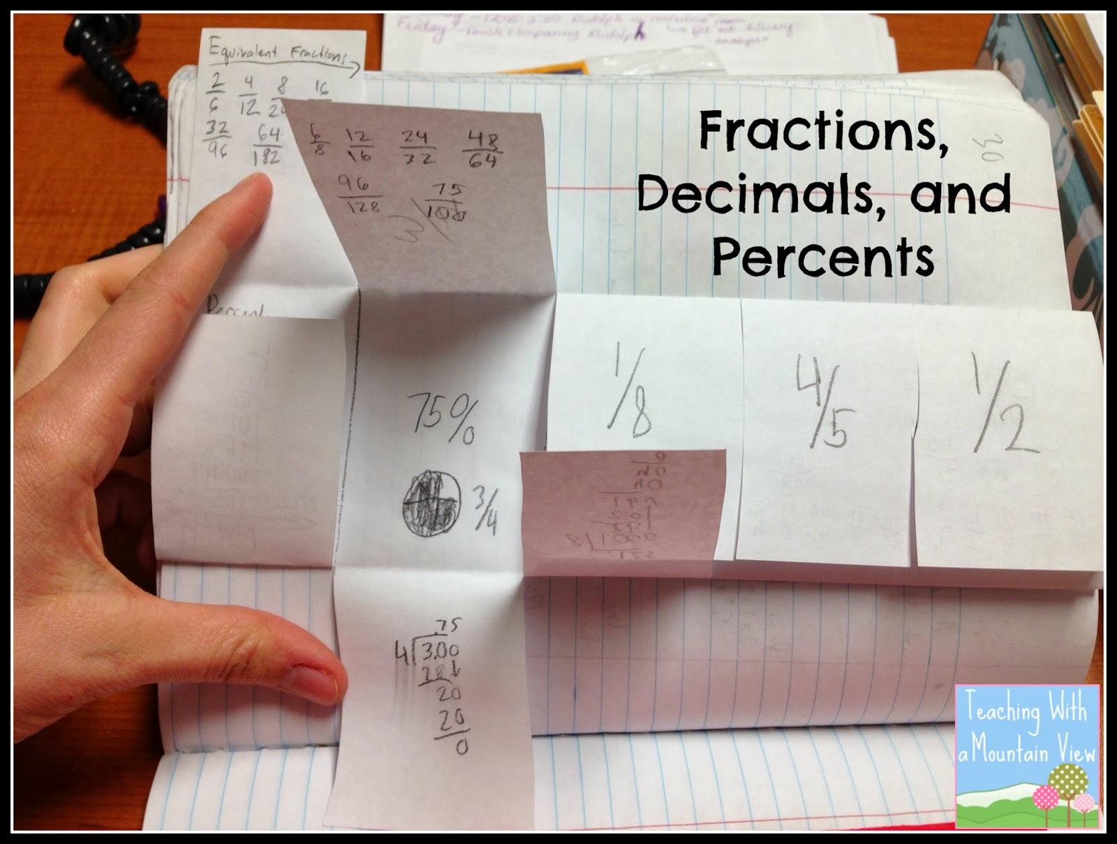 Percents Decimals Fractions And A Freebie