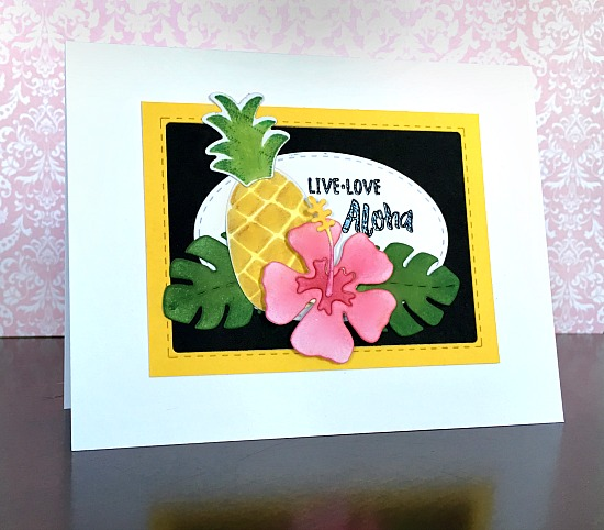 newton's nook designs | kimpletekreativity.blogspot.com | handmade card | live love aloha | tropical | hibiscus | pineapple | cardmaking | papercraft