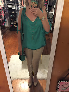 teal blouse outfit of the day