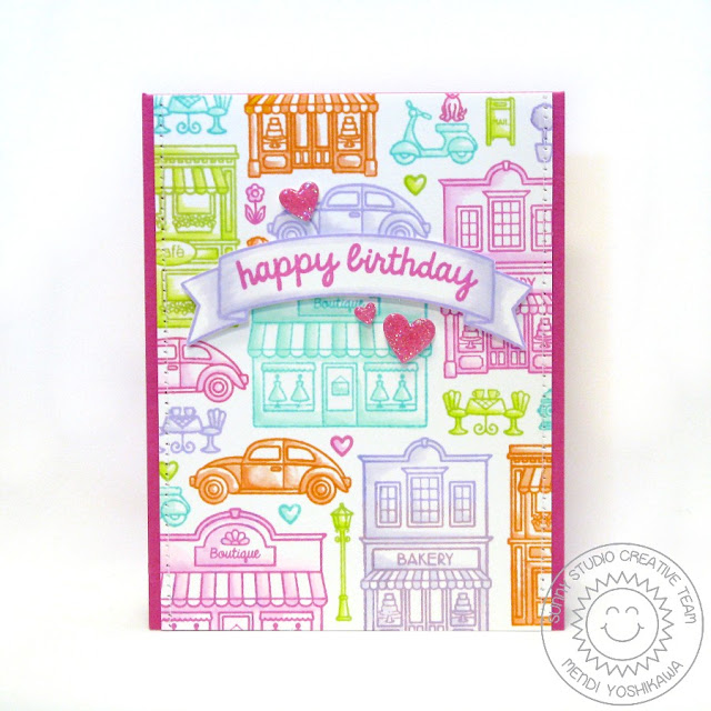 Sunny Studio Stamps: City Streets Birthday Card by Mendi Yoshikawa