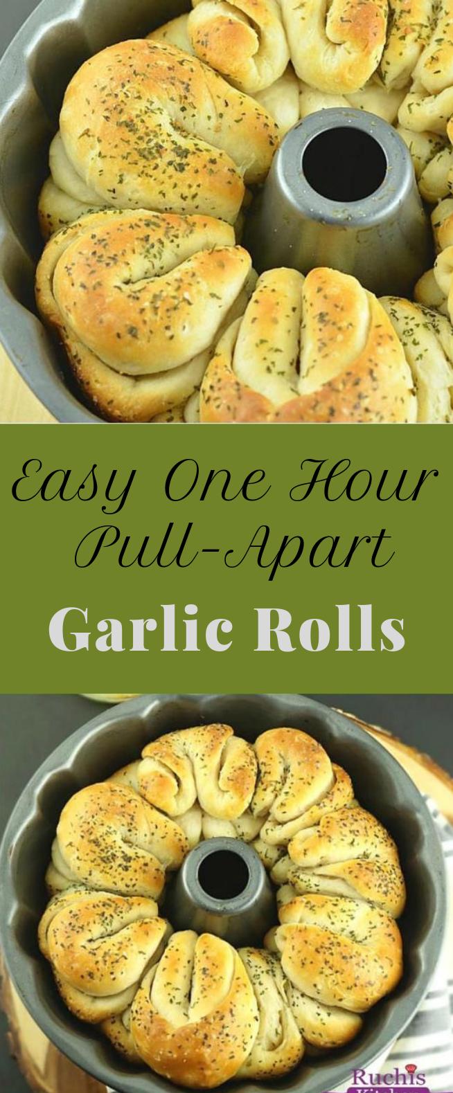 EASY ONE HOUR PULL-APART GARLIC ROLLS #vegan #rolls