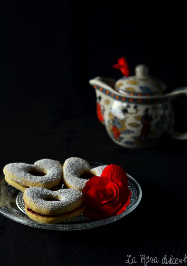 Galletas Linzer sin lactosa para San Valentín