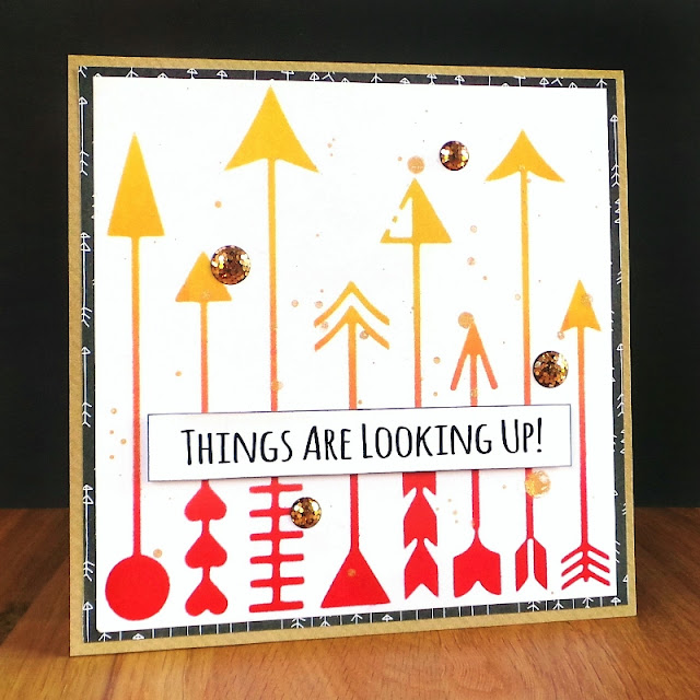 Things Are Looking Up Card using the Happy Scatter Which Way Arrows Stencil for a background pattern