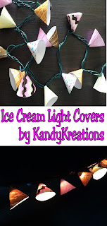 These Ice Cream Party Lights are so cute!  I just love the strawberry, chocolate, and vanilla ice cream covers, but the Sprinkles are probably my favorite. They would be perfect for an easy party decoration at our summer ice cream party.