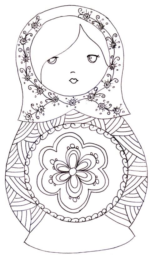 Matryoshka Laura: More Coloring Pages