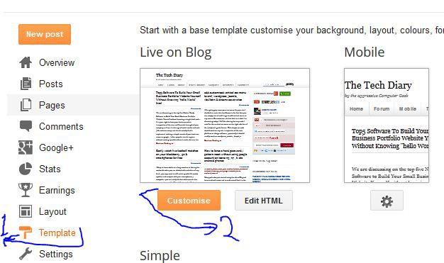 customise blogger template,