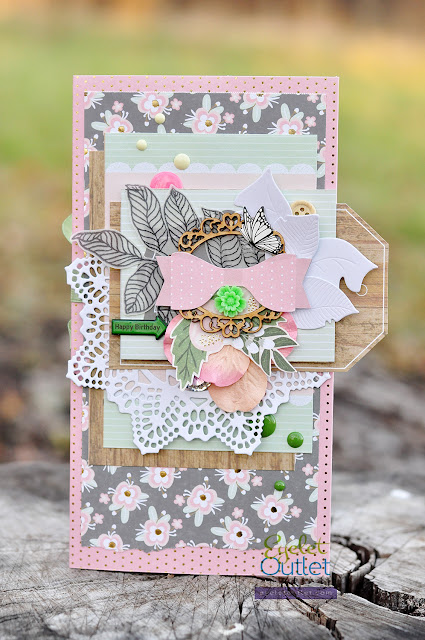 Happy Birthday | Eyelet Outlet @akonitt #card #cards #envelope #by_marina_gridasova #cardmaking #eyeletoutlet #enamels #enameldots #brads #dcwv #scrapbooking