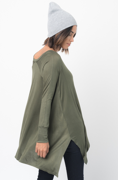 Shop for Olive V-Neck Asymmetrical Swing Tunic long sleeve on caralase.com
