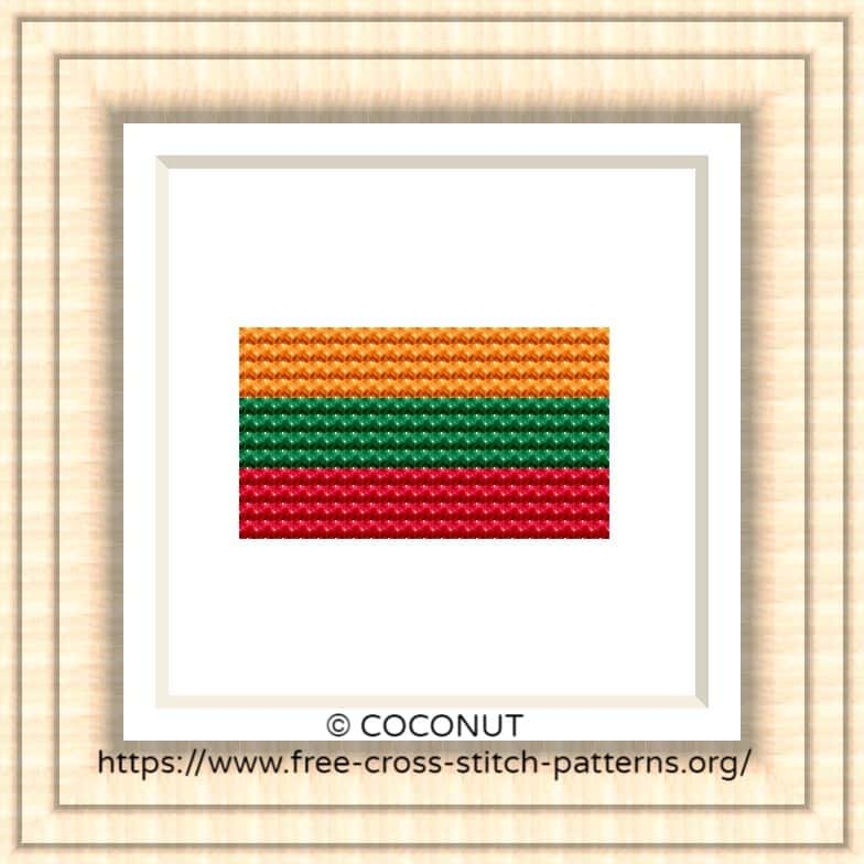 NATIONAL FLAG OF LITHUANIA CROSS STITCH CHART