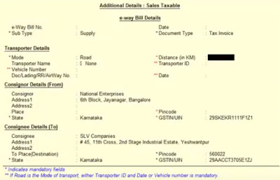 e-way bill detail fields in tally.erp 9