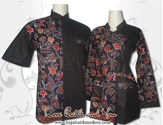 Model Baju Batik Resmi Kombinasi Hitam