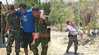 "Anggota TNI Ini ""Bopong"" Satu Persatu Warga Yang Sakit di Lokasi TMMD ke-100"