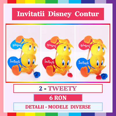 http://www.bebestudio11.com/2017/12/2-tweety-invitatii-gemeni-disney-contur.html
