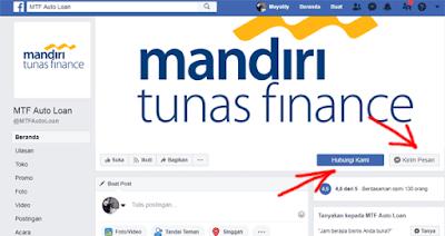 mengirim pesan ke halaman facebook mandiri tunas finance untuk informasi nomor kontrak dan angsuran