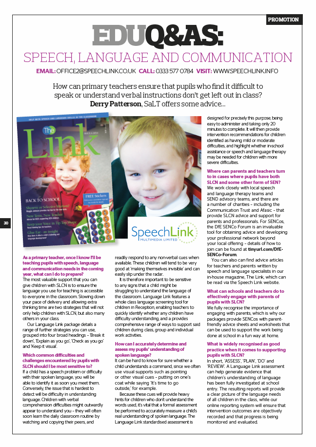 Speech, Language and Communication: SENCo Magazine Article