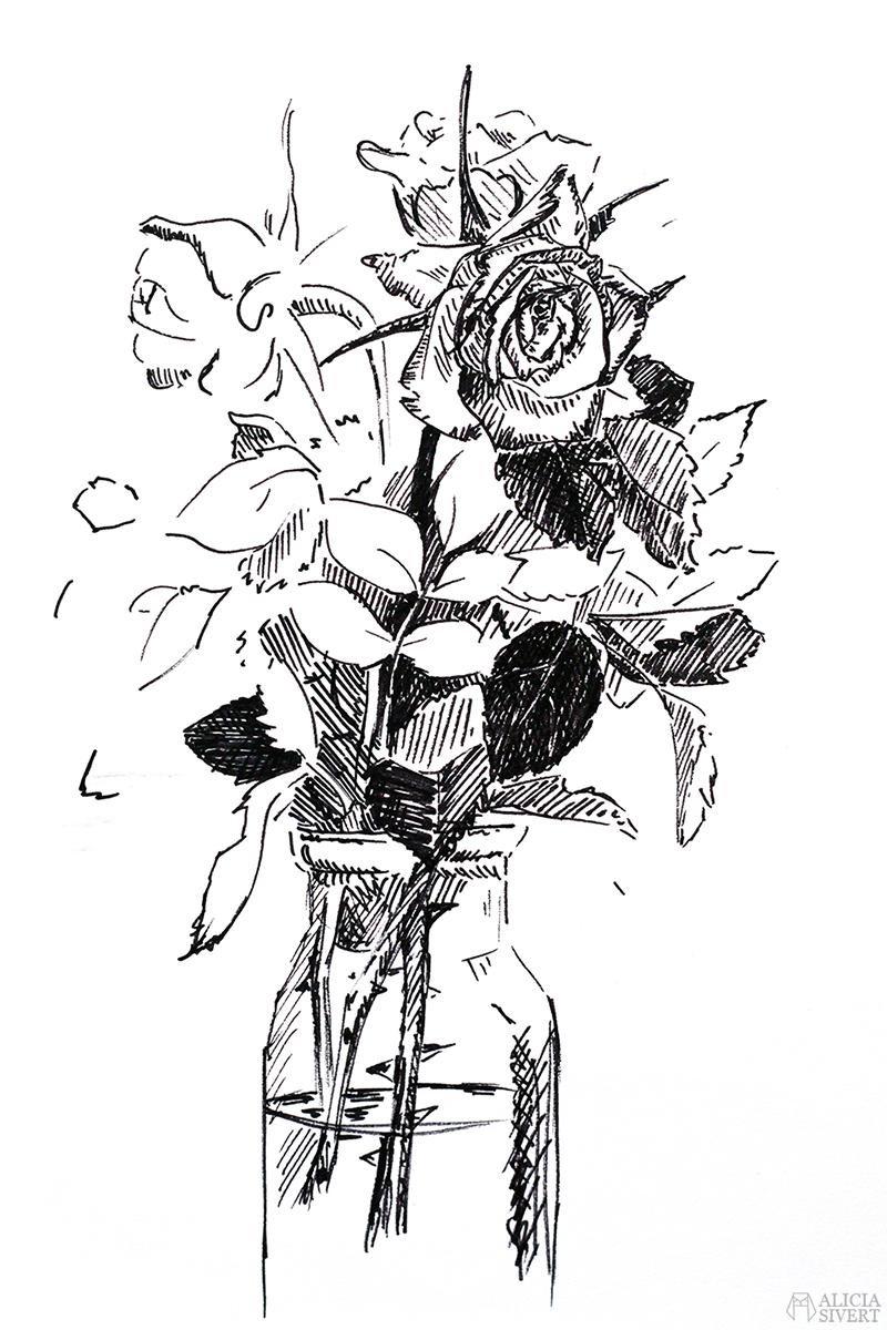 alicia sivert sivertsson aliciasivert konst konstverk teckning teckningar drawing drawings art tusch ink bläck tuschpenna rosor ros bukett rosenbukett rose roses bouquet vas kreativitet skapa skapande