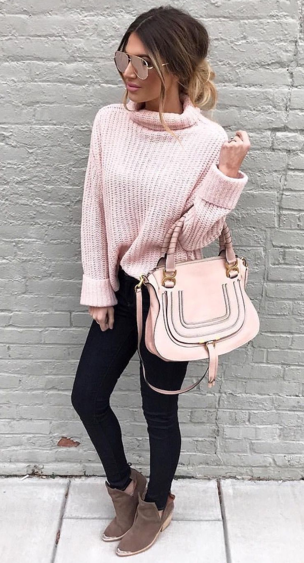 street style with pink blush details