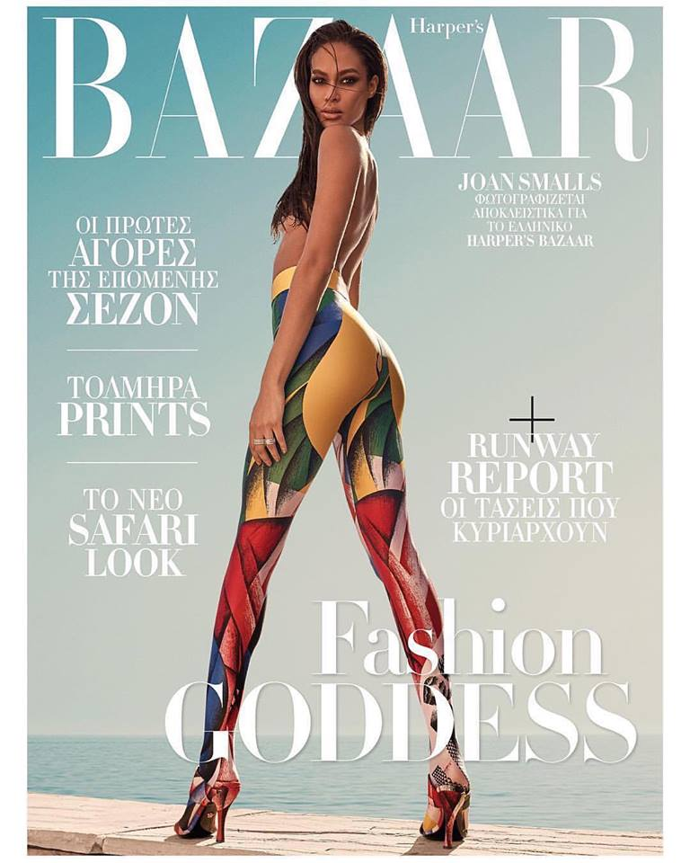 Joan Smalls bares curves for Harper's Bazaar Greece August 2018