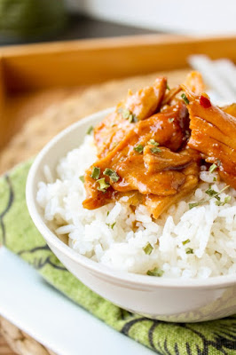 Teriyaki Chicken Rice Bowls (Slow Cooker) from The food Charlatan featured on SlowCookerFromScratch.com