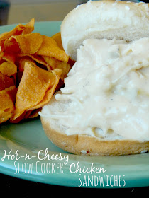 Hot-n-Cheesy Slow Cooker Chicken Sandwiches...5 minutes of prep, 6 hours on LOW, dinner is ready!  Cheesy chicken on a bun! (sweetandsavoryfood.com)