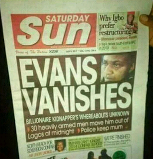 """Daily Sun newspaper with the headline """"Evans Vanishes"""""""