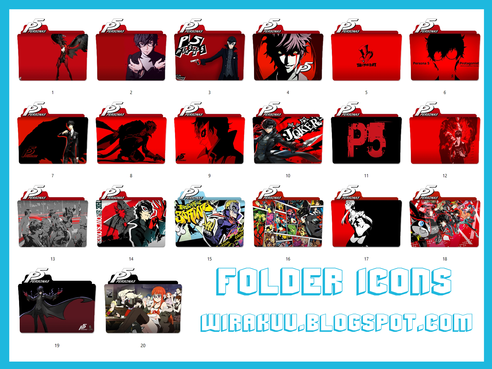 20 Folder Icons Game Persona 5 (Windows 7, 8, 10) - Wirakuu