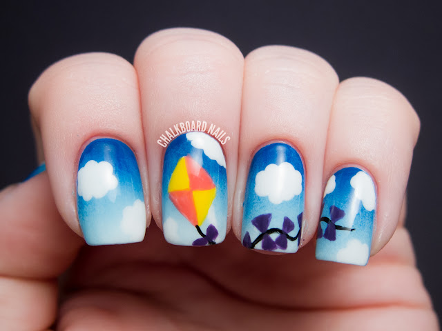 Chalkboard Nails: Kite nail art