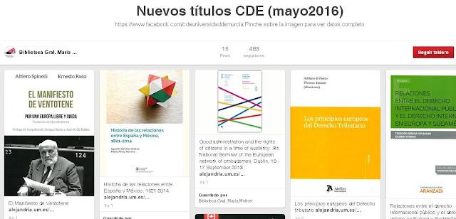 Nuevos títulos ingresados en mayo en el CDE.