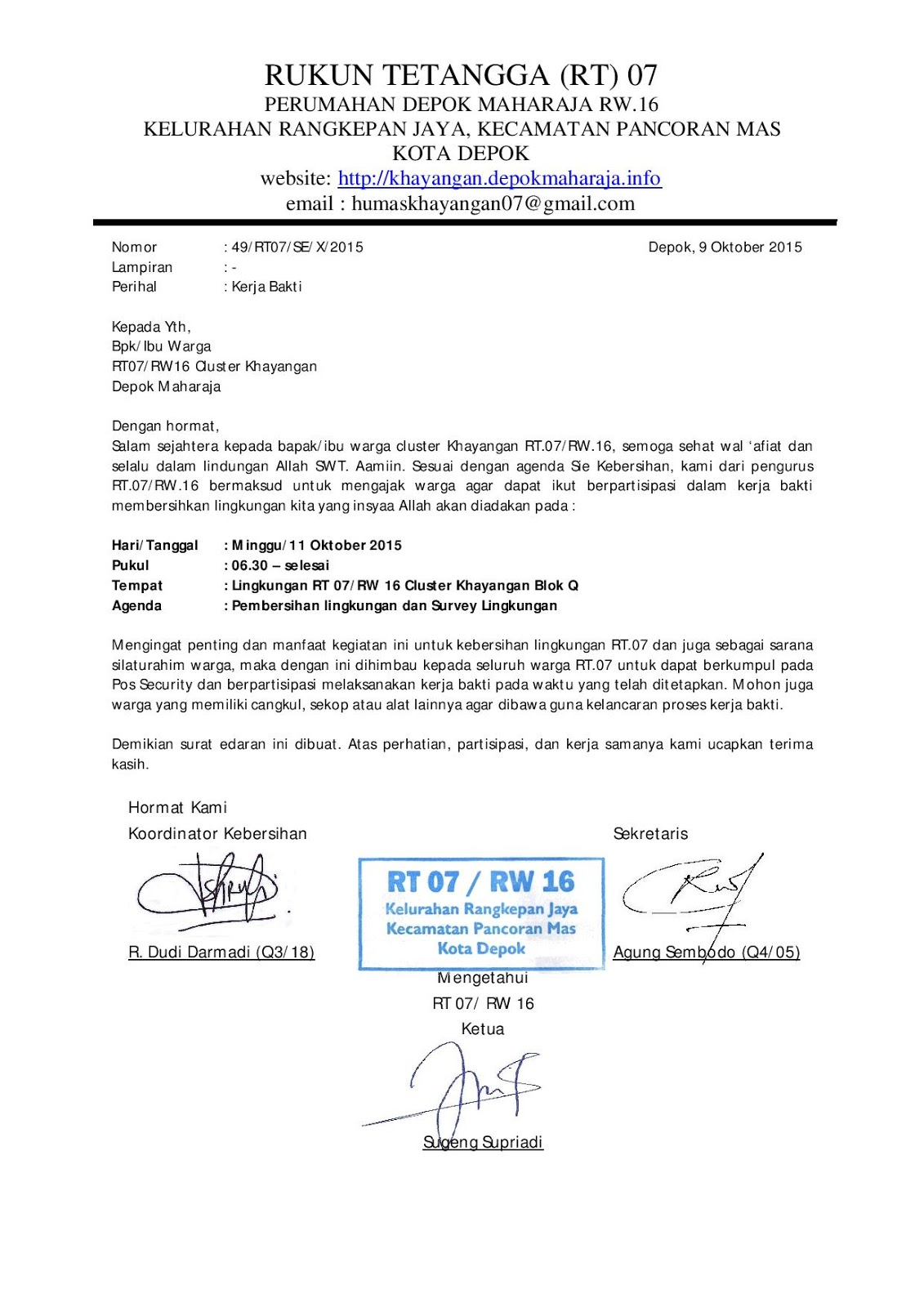 Contoh Surat Undangan Rapat Rt Wood Scribd Indo