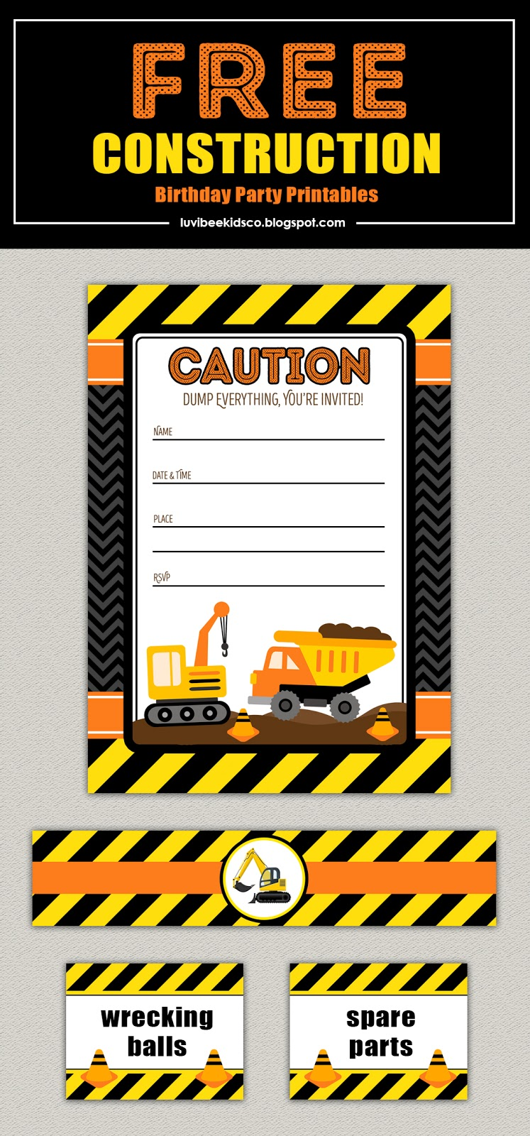 construction themed birthday invitations you print - Adamantium.co