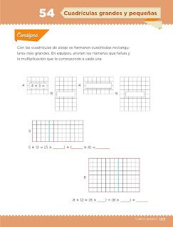 Apoyo Primaria Desafíos Matemáticos 4to. Grado Bloque III Lección 54 Cuadrículas grandes y pequeñas
