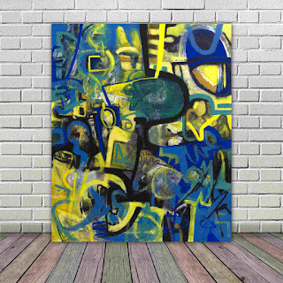 abstract blue and yellow with black and white, some shapes that look like people