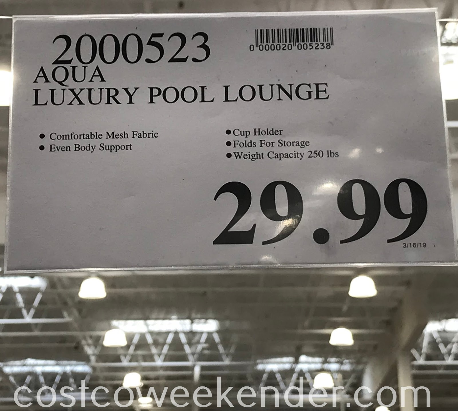 Deal for the Aqua Luxury Pool Lounge at Costco