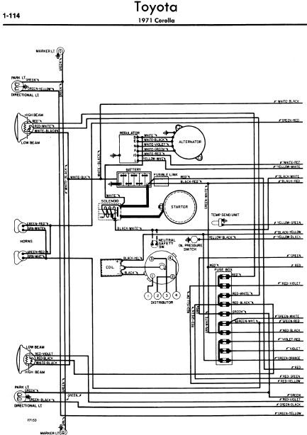 repairmanuals: Toyota Corolla 1971 Wiring Diagrams
