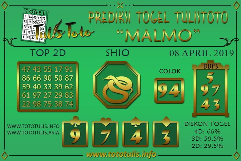 Prediksi Togel MALMO TULISTOTO 08 APRIL 2019