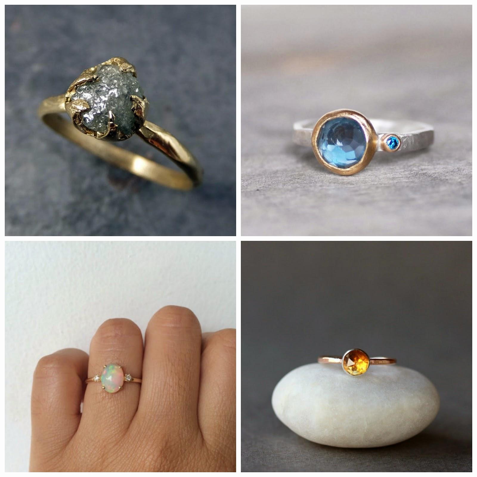 nontraditional engagement rings non traditional wedding rings Bottom left charlieandmarcelle opal diamond 14k gold Bottom right ShopClementine citrine 14k gold
